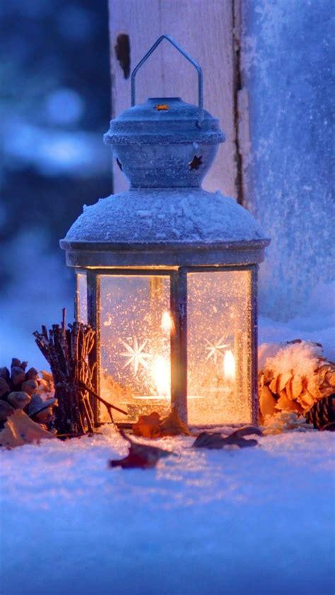 lantern snow winter christmas eve  pure  ultra hd mobile wallpaper