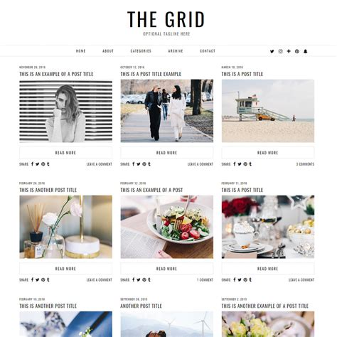wordpress themes photo grid the grid multi purpose wordpress theme by pipdig