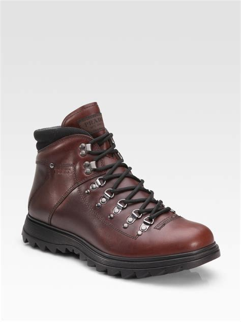 laced boots for prada lace up boots in brown for lyst