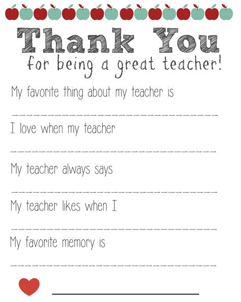 printable thank you card from teacher to student thank you teacher free printable the momma diaries