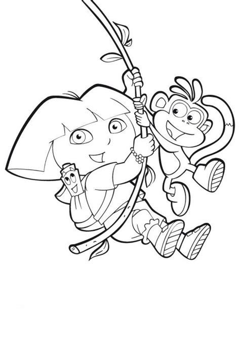 coloring page dora boots swinging boots and dora coloring pages to print cartoon