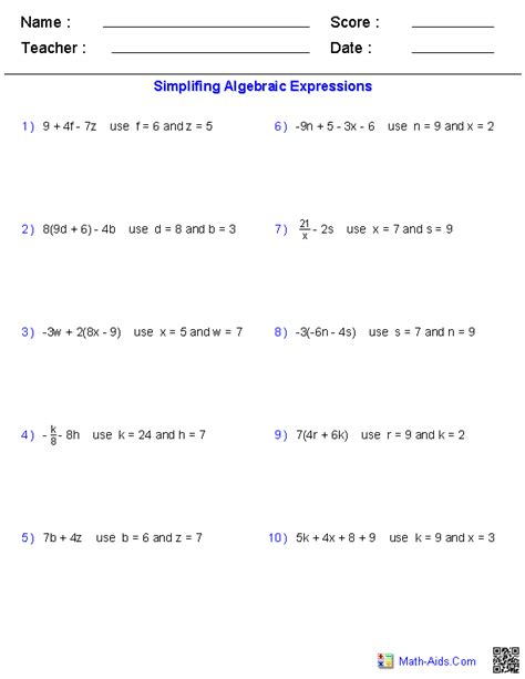 Evaluating Expressions Worksheet by Algebra 1 Worksheets Basics For Algebra 1 Worksheets