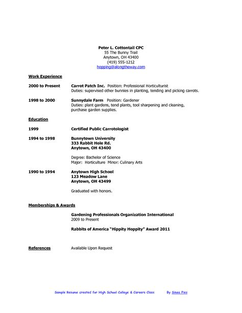 how to write a resume for high school resume exles for highschool students resume ideas