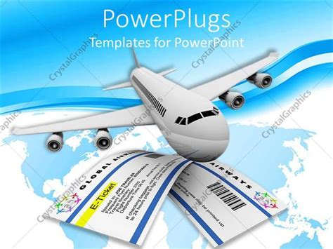 Powerpoint Template Plane Flying Two Tickets Blue And White Background 11291 Powerpoint Travel Templates