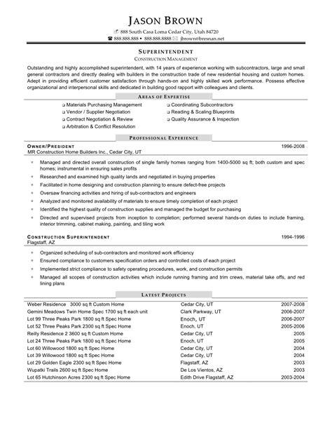 Resume Exles For Construction Supervisor magnificent builders resume sle images exle resume