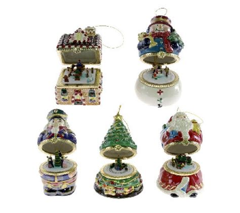 mr christmas set of 5 musical box ornaments series 1