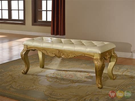 bench 2 bedside lavish traditional french gold upholstered bedside bench