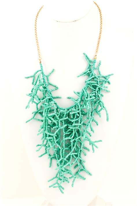 Branch Necklace acrylic seed bead branch necklace necklaces