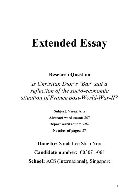 Extended Essay Title Page Exle by Ee Extended Essay Is Christian S Bar Suit A Reflection Of T