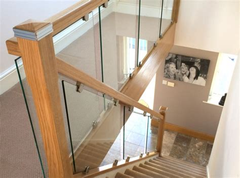 glass banister for stairs toughened glass stair balustrade with solid oak rails