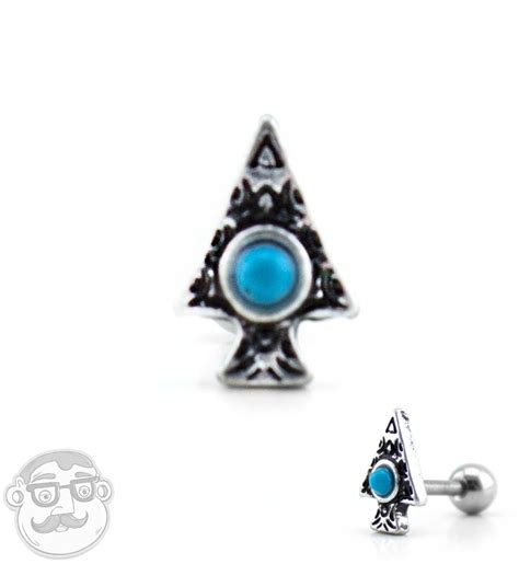 16g Arrowhead With Turquoise Inlay Tragus Cartilage