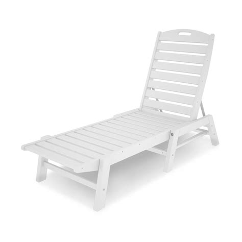 plastic lounge chairs home depot polywood patio chaise lounge in nautical white nac2280wh