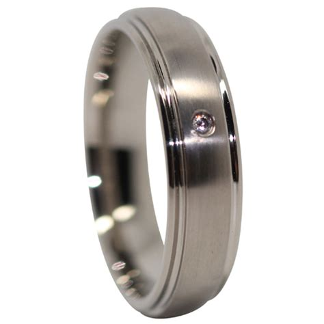 Mens Engagement Rings by Titanium Mens Engagement Ring With Single