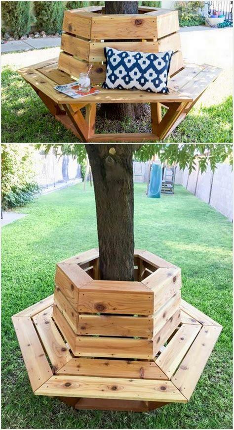 circular bench around tree creative inspiring tree seats around trees recycled things