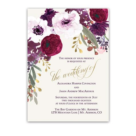 wine and gold template wedding invitation card sle floral wedding invitations bohemian purple wine flowers