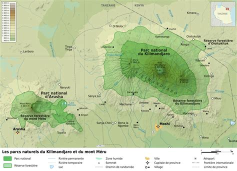 mt kilimanjaro map file kilimanjaro and arusha national parks map fr jpg wikimedia commons