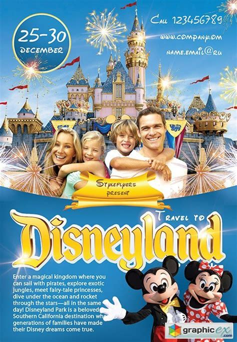 travel to disney land psd flyer template facebook cover