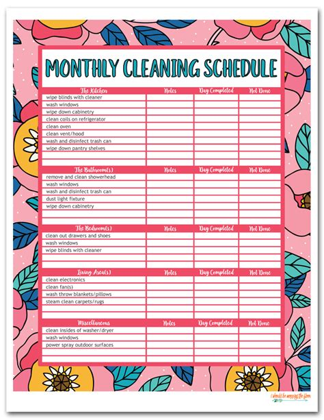 complete housekeeping printable set monthly cleaning schedule