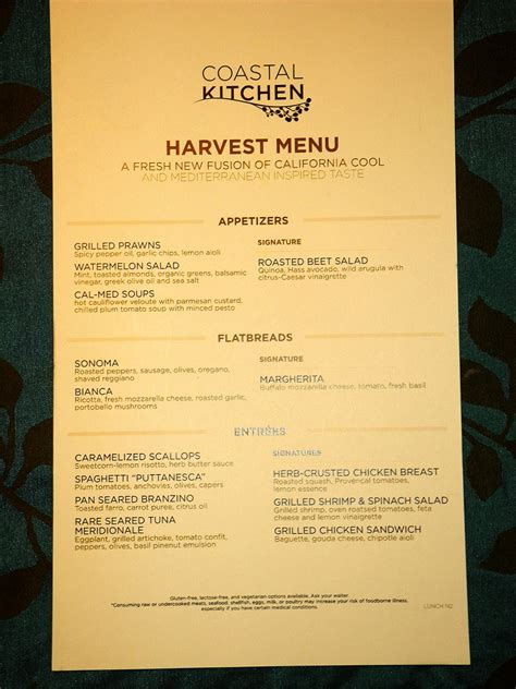 Coastal Kitchen Menu by Time Dining On Cruise Critic Message Board Forums