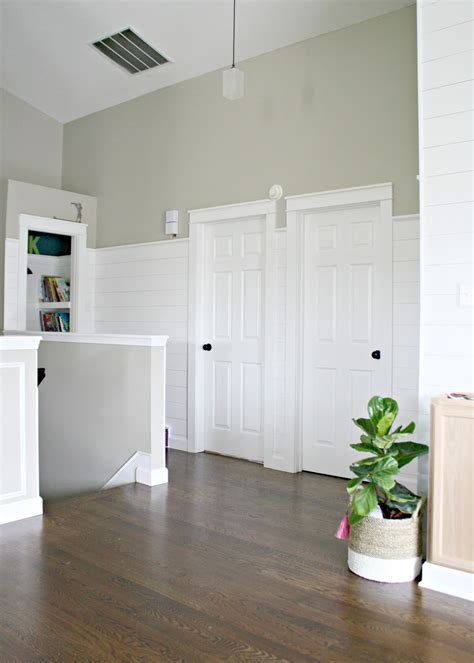 Shiplap White Wall Finished Shiplap Walls And Farmhouse Door Trim In The Loft