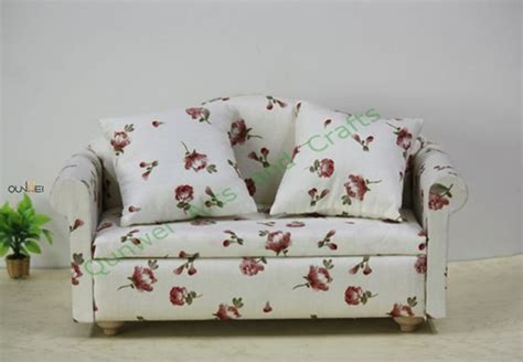 red floral sofa red floral sofa w pillow living room dollhouse furniture