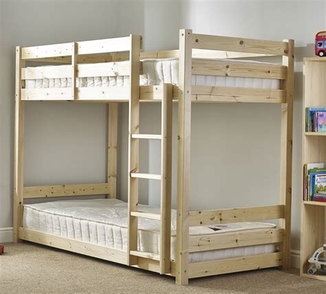 Pine Wood Bunk Beds Pluto 3ft Single Heavy Duty Solid Pine Bunk Bed