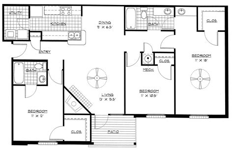 three bedroom floor plans three bedroom building plan homes floor plans
