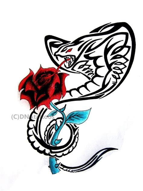 snake and rose tattoo designs black tribal cobra snake with design