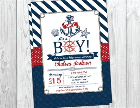 Nautical Baby Shower Invitation Beach Boy By Yourmaineventprints Printable Nautical Baby Shower Invitations Templates