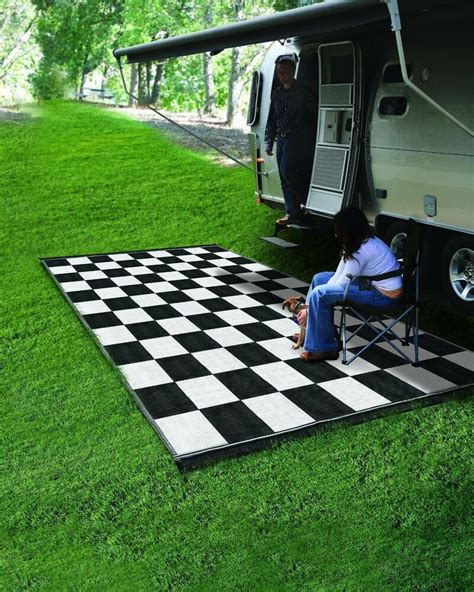 cing reversible outdoor mat rv trailer patio white