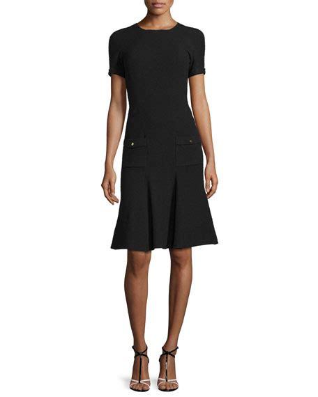 Dress La New Bhn Spndex Fit L oscar de la renta sleeve fit and flare knit dress black