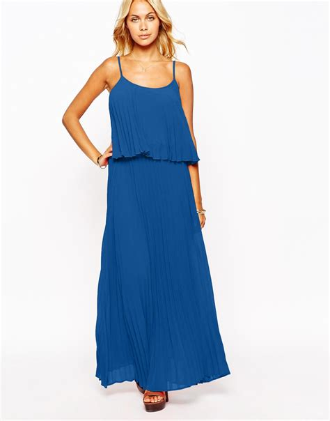 Layer Dress 1 lyst fashion union pleated layer maxi dress in blue