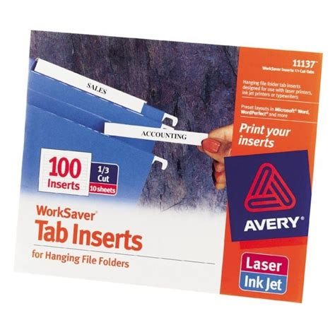 avery tab inserts template printer