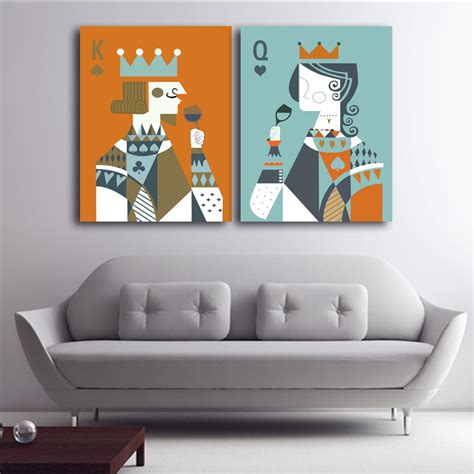 king home decor ᑎ queen king of poker home decor decor canvas painting