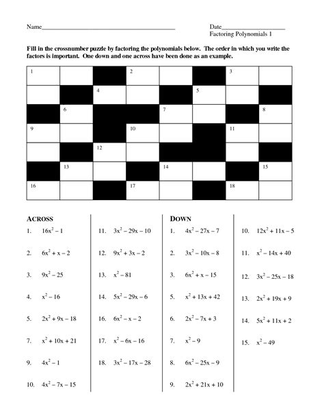 Algebra Puzzle Worksheets by 13 Best Images Of Algebra 1 Factoring Puzzle Worksheets