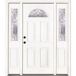 Home Depot Exterior Doors With Sidelights Feather River Doors Medina Zinc Fan Lite Unfinished Smooth