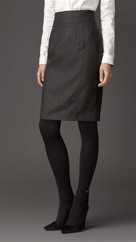 burberry micro check wool flannel pencil skirt in gray lyst