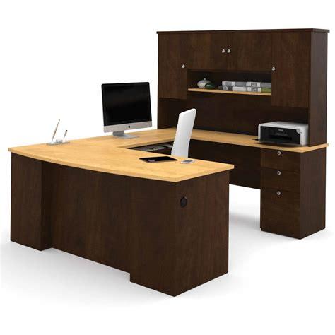 Chocolate Computer Desk Bestar Manhattan U Shaped Computer Desk In Secret Maple And Chocolate Ebay