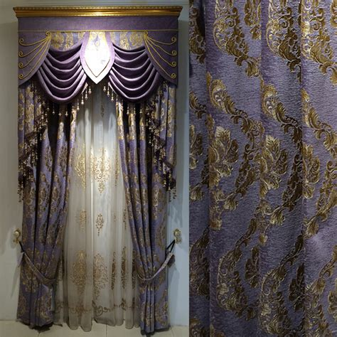 romantic curtains romantic purple floral chenille room darkening curtains