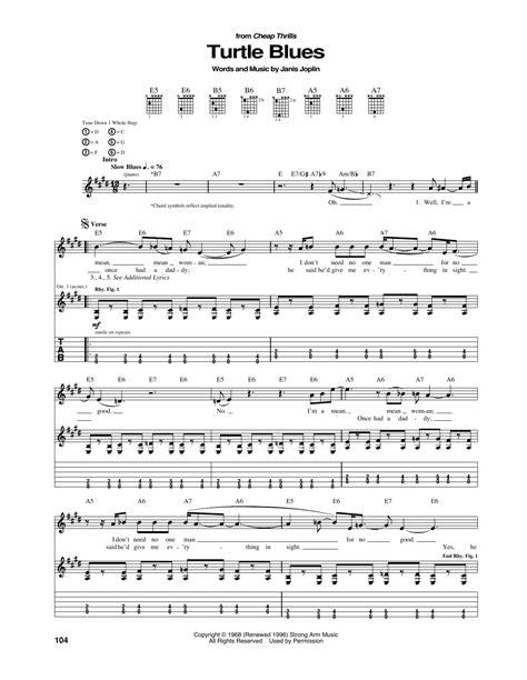 turtle blues sheet  janis joplin guitar tab