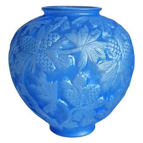 phoenix glass reuben  pine cone vase rare blue wash ca   thedevilduckcollection