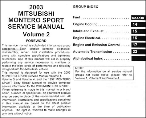 repair manuals mitsubishi montero 2003 repair manual 2003 mitsubishi montero sport repair shop manual set original
