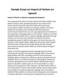 Exle Of A Speech Essay by Sle Essay On Impact Of Autism On Speech