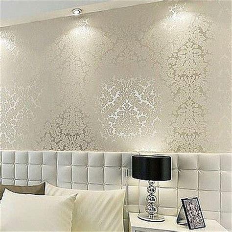 floral textured damask design glitter wallpaper  living