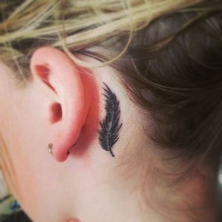 feather behind ear tattoo ear images designs