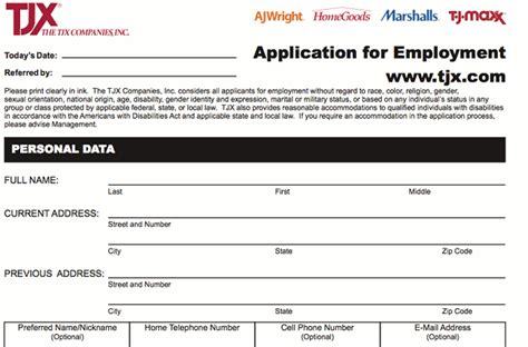 printable job applications marshalls marshalls application pdf print out