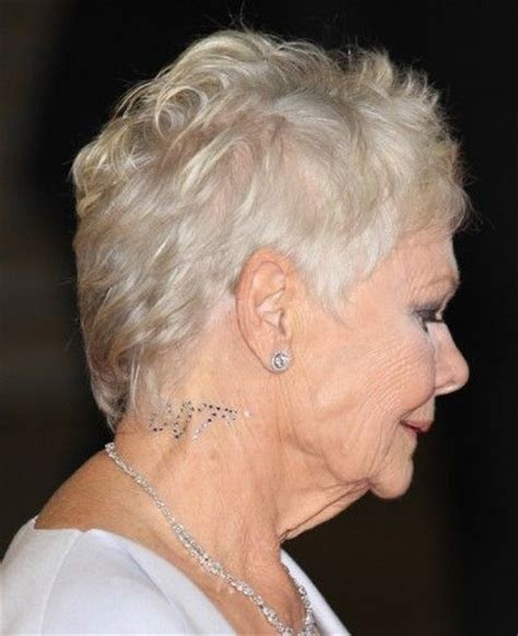 show back of judy dench hairstyle judy dench pixie crop haircut dame judi s swarovski