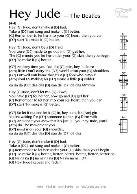 come together beatles testo ukulele chords hey jude by the beatles