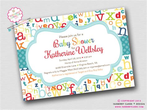 alphabet baby shower colorful abc alphabet baby shower invitation by inkberrycards