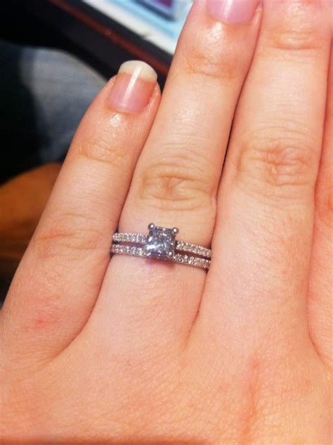 princess cut solitaire brides need your wedding band pics